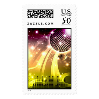 disco cityscape postage