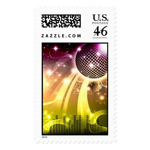 disco cityscape postage stamp