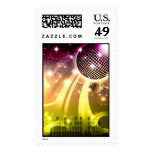 disco cityscape postage stamp
