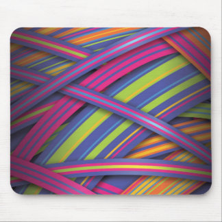 Disco colored abstract stripes mouse pad