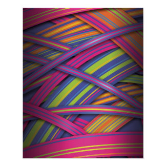 Disco colored abstract stripes poster