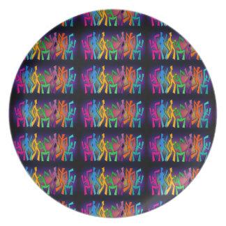 Disco Colorful Dancer Melamine Plate