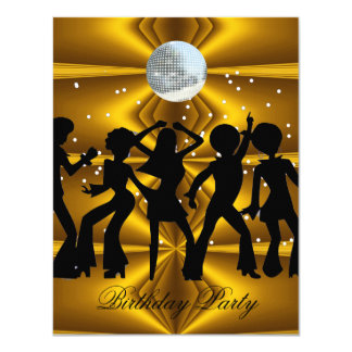 Disco Dance Birthday Party disco ball 4.25x5.5 Paper Invitation Card