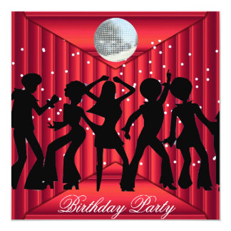 Disco Dance Birthday Party  Invitation red