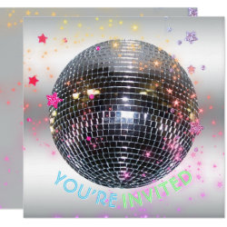 Disco Dance Birthday Retro 70's Disco Ball Party Invitation