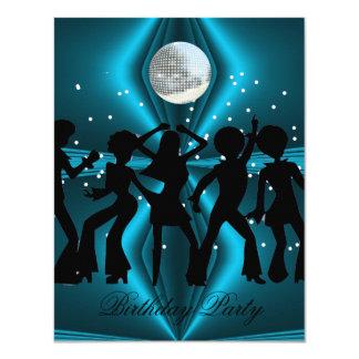 Disco Dance Blue Birthday Party 4.25x5.5 Paper Invitation Card
