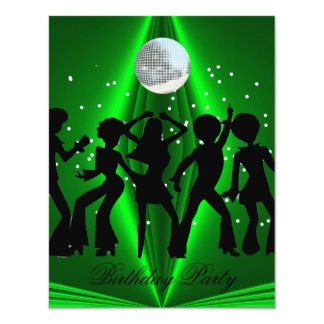 Disco Dance Green Birthday Party Card