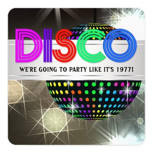 Disco Dance Party 5.25x5.25 Square Paper Invitation Card