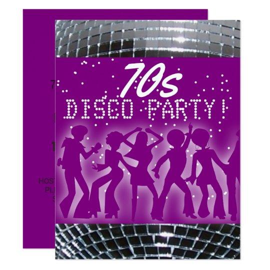 disco dance party purple retro 70 s theme party invitation