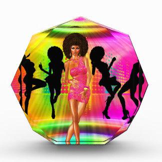 Disco dance scene with silhouettes, retro. award