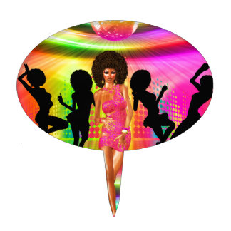 Disco dance scene with silhouettes, retro. cake topper
