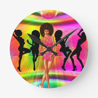 Disco dance scene with silhouettes, retro. round clock