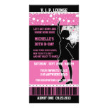 Disco Dancer Silhouette Birthday Ticket Custom Photo Card