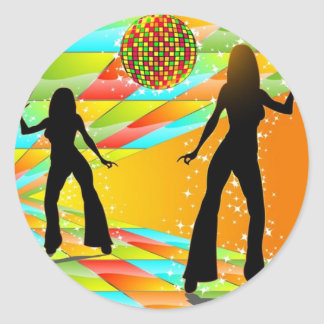 Disco Dancing Classic Round Sticker
