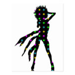 Disco dancing girl silhouette with an Afro Postcard