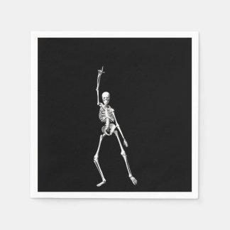 Disco Dancing Halloween Skeleton Napkin Standard Cocktail Napkin