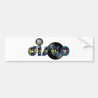 Disco Dancing Mirrored Ball and Vinyl Record Car Bumper Sticker