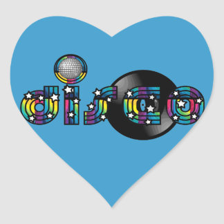Disco Dancing Mirrored Ball and Vinyl Record Heart Sticker