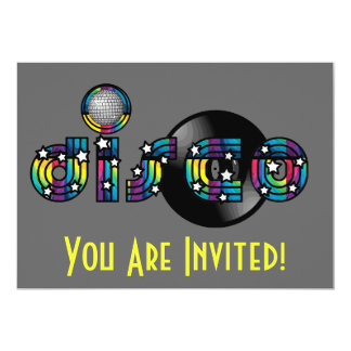 "Disco Dancing Mirrored Ball and Vinyl Record 5"" X 7"" Invitation Card"