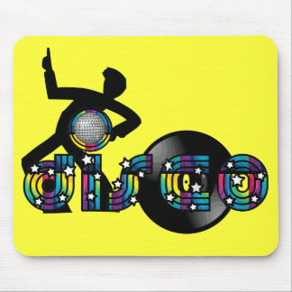Disco Dancing Mirrored Ball and Vinyl Record Mouse Pad