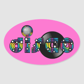Disco Dancing Mirrored Ball and Vinyl Record Oval Sticker