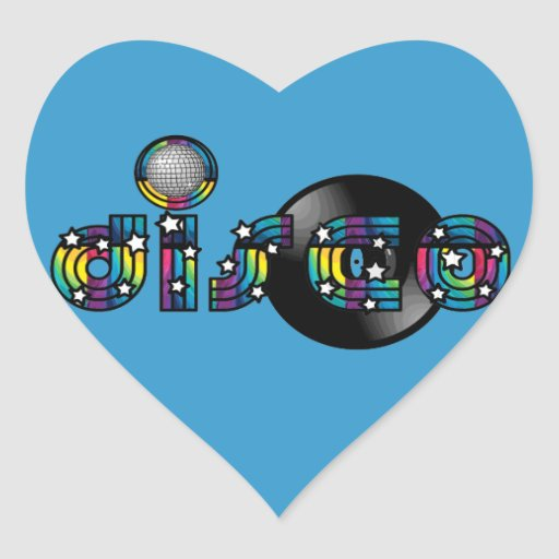 Disco Dancing Mirrored Ball and Vinyl Record Sticker