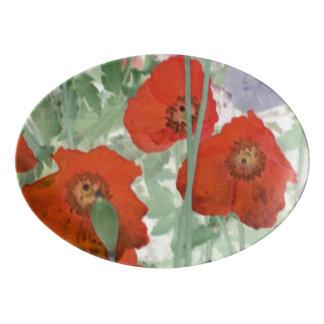 disco de la porcelana de las amapolas badeja de porcelana