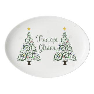 Disco de la porción del árbol de navidad del badeja de porcelana