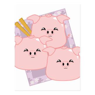 Disco de las bolas de masa hervida del cerdo tarjetas postales