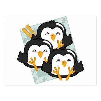 Disco de las bolas de masa hervida del pingüino de postales