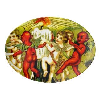 Disco de los diablos 13x9 del Cupid de Halloween Badeja De Porcelana