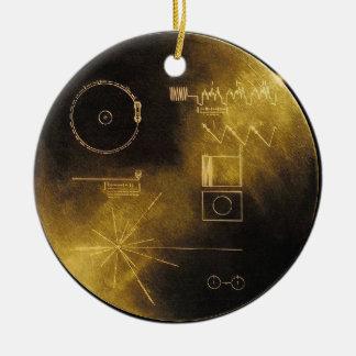 Disco de oro del viajero adorno navideño redondo de cerámica