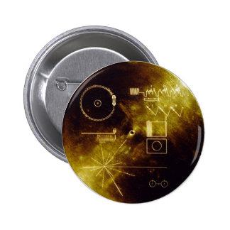Disco de oro del viajero pin redondo de 2 pulgadas