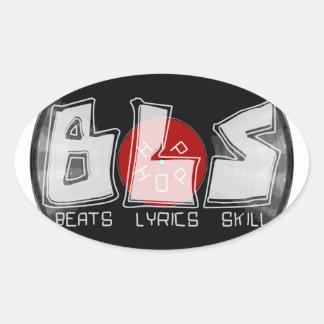 Disco de vinilo de BLS - habilidad = HIP HOP de Pegatina Ovalada