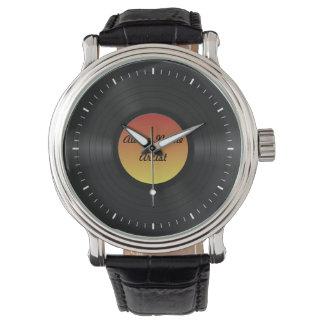 Disco de vinilo de encargo falso reloj de mano