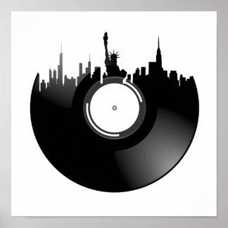 Disco de vinilo de New York City Póster
