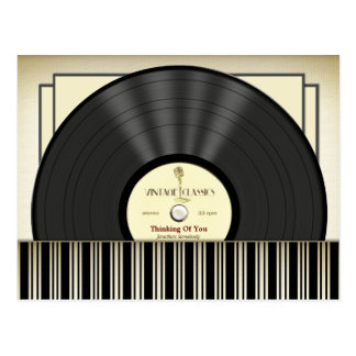 Disco de vinilo del micrófono del vintage postal