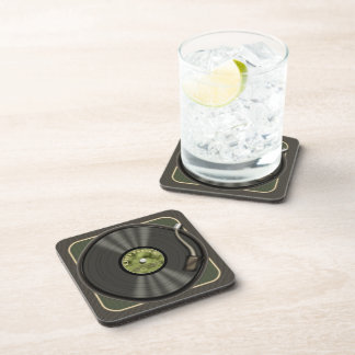 Disco de vinilo del vintage posavasos de bebida