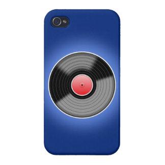 Disco de vinilo en la caja azul del iPhone 4 iPhone 4/4S Fundas