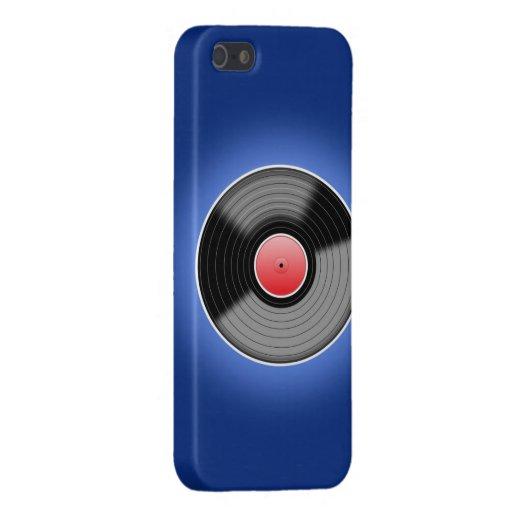 Disco de vinilo en la caja azul del teléfono iPhone 5 fundas