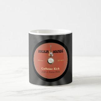 Disco de vinilo personalizado de la roca del vinta taza de café