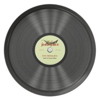 Disco de vinilo personalizado del jazz plato de comida