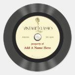 Disco de vinilo personalizado del micrófono del etiquetas redondas