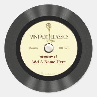 Disco de vinilo personalizado del micrófono del pegatina redonda