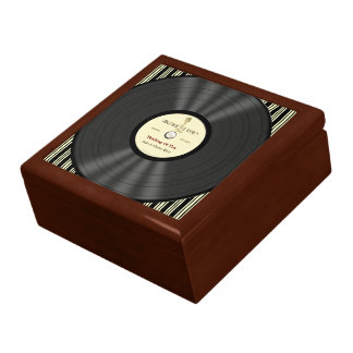 Disco de vinilo personalizado del micrófono del vi caja de joyas