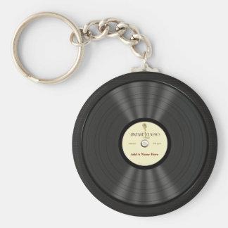 Disco de vinilo personalizado del micrófono del vi llavero redondo tipo pin