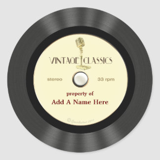 Disco de vinilo personalizado del micrófono del vi etiquetas