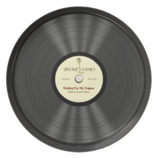 Disco de vinilo personalizado del micrófono del vi plato de cena