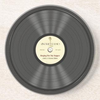 Disco de vinilo personalizado del micrófono del vi posavaso para bebida