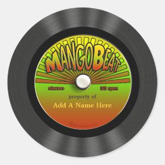 Disco de vinilo personalizado del reggae del pegatinas redondas